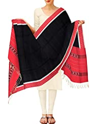 Unnati Silks Women Casual Black And Pink Pure Pochampally Cotton Dupatta