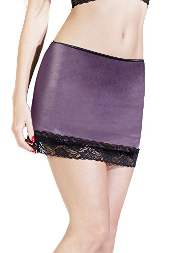 Coquette Women's Darque Wet Look Skirt with Lace Trim, Purple, Small