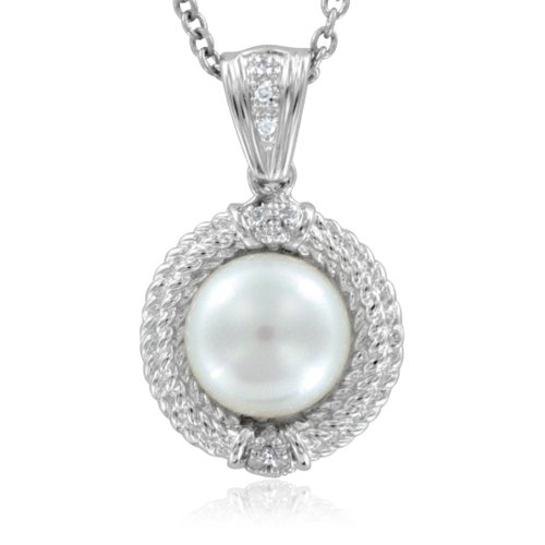 Diamond and White Pearl Necklace Pendant in Sterling Silver - 18""