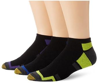 Gold Toe Men's 3-Pack Cushion Athletic Liner Sock, Black/Royal, 10-13