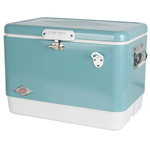Coleman 54 quart Vintage Steel Belted Cooler, Turquoise
