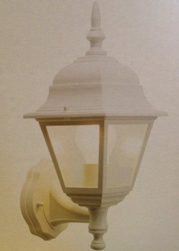 Outside Light Porch Security Garden Wall Exterior White Upright Lantern