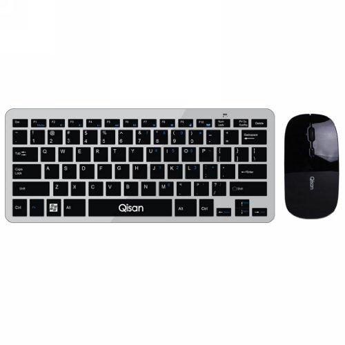 Qisan 78-Key Keyboard + Ultra Thin Mouse D1000 Wireless Combo(Black)