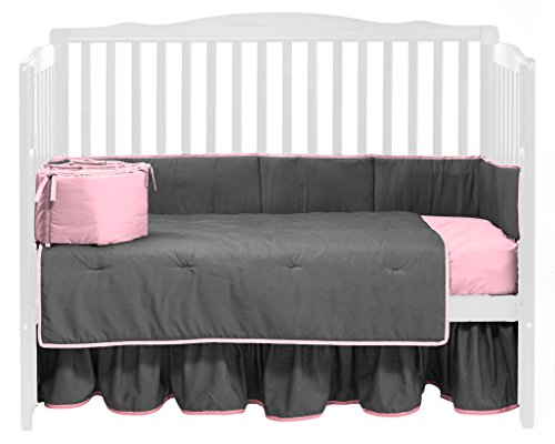 Baby Doll Solid Reversible Crib Bedding Set, Grey/Pink