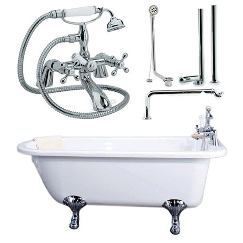 Traditional Single Ended Roll Top Bath, Roll Top Bath Pack and Tap