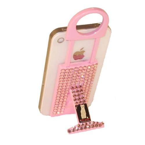 wEASEL Smartphone Stand with Retractable Loop Hanger for Hard Cases - Pink Jeweled