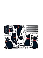 Ambiance Sticker Vinilo Decorativo Black Cats With Bowties