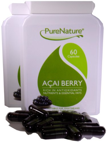 100% PURE ACAI BERRY TWIN PACK 500mg capsules the super food for health, beauty, dietary & weight loss slimming aid 120 Vegi capsules of Pure Freeze Dried Black Acai Berry-FREE UK POSTAGE