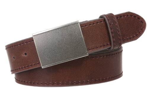 """Snap On 1 1/2"""" Leather Belt with Gritty Looking Textured Belt Buckle Size: M - 33""""~35"""" Color: Brown"""
