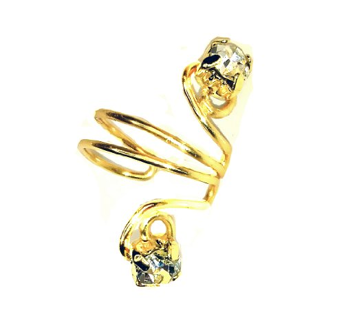 Pierceless Golden Ear Cuff with Rhinestones By Earlums