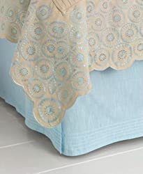 "Martha Stewart Collection ""Nouveau Eyelet"" Bedskirt, King Pleated Lake"