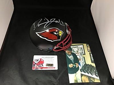 David Johnson Signed Autographed UNI Arizona Cardinals Black Matte Mini Helmet White Signature Witnessed COA & Hologram W/Photo From Signing