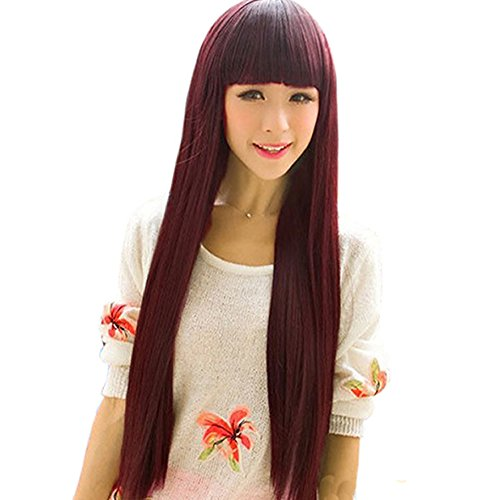Estone Women Girl Beautiful Neat Bang Long Straight Hair Wig For Cosplay Costume Party (Wine Red) front-156111
