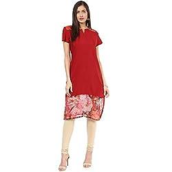 WOMENS KURTA: 100% Cotton Printed Bottom Kurta, Designed in NYC-(16.04.316RedPrint-RedCrepe-M)