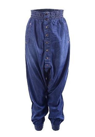 hiddenfashion pantalon sarouel pour femme taille haute jean bleu d lav bouton pression bleu. Black Bedroom Furniture Sets. Home Design Ideas