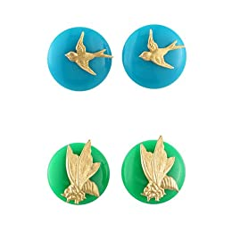 Subversive® for Target® Blue Bird and Green Bee Button Earrings Set