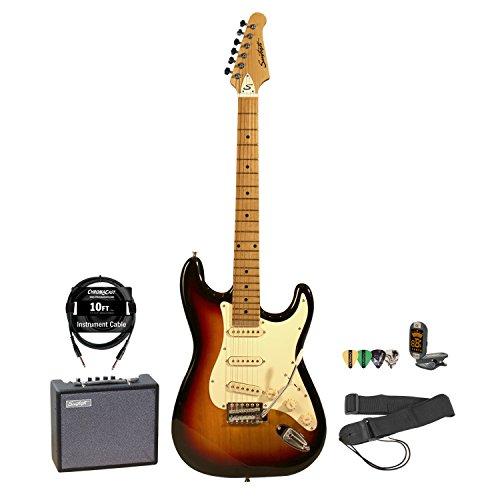 Sawtooth Sunburst Electric Guitar W/ Vintage White Pickguard - Includes: Accessories & 10-Watt Amp