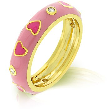 14K Gold Bonded Pink Enamel Heart Eternity Ring With Clear CZ Accents