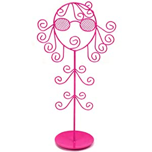 Jewelry Stand Holder Organizer Necklaces Bracelets Rings Stylish Girl Hot Pink from Bucasi