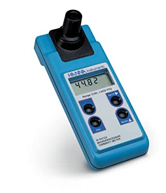 Hanna Instruments HI93703 Portable Turbidity Meter with Cuvette, 0.00 to 50.00 FTU, 0.01 FTU Resolution, +/-0.5 FTU Accuracy