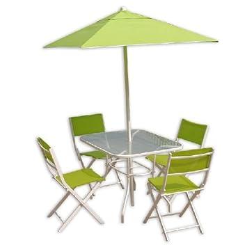 Juego para exterior jardín Day Break en textilene hierro blanco y verde 6 unidades