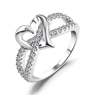 Heart Promise Ring, Caperci 925 Sterling Silver CZ Diamond Accent Heart Engagement Wedding Ring Size 5-10
