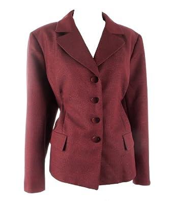 EVAN PICONE Women's Notch Collar Jacket/Skirt Suit-CRIMSON/BLACK-18W