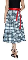 DeeVineeTi Checkered Women's Wrap Around Skirt, Black & Off-White, FreeSize