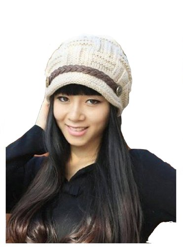 Beige Color Women Lady Beanie Crochet Hat Fashion