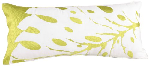 Trina Turk Blue Peacock Leaf Embroidered Decorative Pillow, 26 By 12-Inch, Green front-1040307