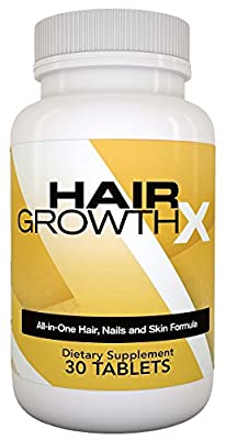 Hair Growth X: All-in-one Hair Growth Support Supplement, DHT Blocking Hair Loss Treatment for Men and Women with Biotin, Vitamins, Minerals, Natural Herbal Extracts and Amino Acids - 30 Extra Strength Tablets