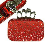 LYDC Red Lace Detail Knuckle Duster Design Evening Box Clutch Bag