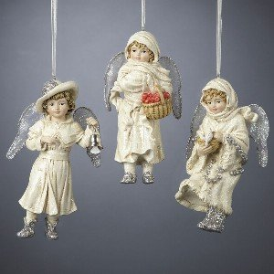 WINTER VINTAGE ANGEL ORNAMENT SET OF 3 – 4 25″ WINTER VINTAGE ANGEL ORNAMENT, SET OF 3 ASSORTED – Christmas Ornament