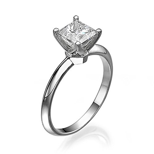 White Gold Engagement Ring 0.60 CT Princess Cut Natural Diamond H/SI1 (Clarity Enhanced) 14ct