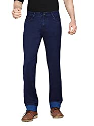 Dragaon Men's Silky Chinos Stretchable Relaxed Fit Jeans-Drak Blue-D-2606-Size-30