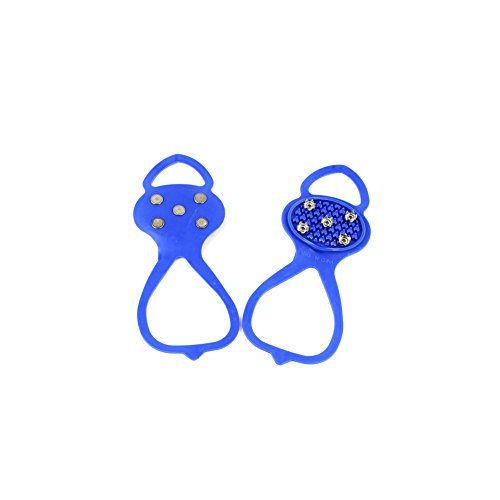 1 Pair 5 Teeth Universal Round Ice Snow Crampons Anti-skid hiking boots Covers Spike Cleats Ice Gripper for Outdoor Footwear Blue
