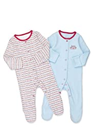 2 Pack Pure Cotton Striped Sleepsuits [T78-5901Z-Z]