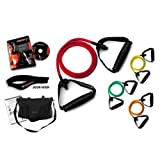 *** LIFETIME REPLACEMENT WARRANTY *** Ripcords Resistance Exercise Bands Intermediate Tension 4 pack: Exercise Bands, Ripcords Circuit DVD, Door Anchor, Travel Bag and Manualby Ripcords