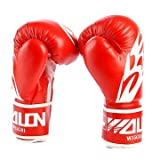 PU Leather MMA Gloves Fighting Boxing Gloves Sparring Training Gloves Muay Thai Kick Boxing Gloves (Red)