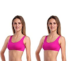 BYC Pink Sports Bra (Free Size) (Pack of 2)