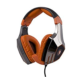 CX SADES A60 7.1 Surround Sound Stereo USB Gaming Headphones with Microphone Vibration Black Orange