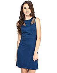 Besiva Womens Viscose Blue Mesh Dress