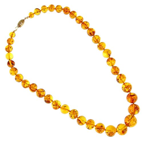 DonnaBijoux - Graduated Amber Bead Necklace - Baltic Amber and Gold Plated Silver - 52 cm