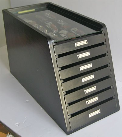 Knife Storage/Display Case Holder Cabinet, With 6 Drawers, Kc01-Bla
