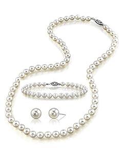 14K Gold 7-8mm White Freshwater Cultured Pearl Necklace, Bracelet & Earrings Set, 18