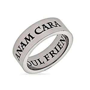 Anam Cara Soul Friend Stainless Steel Poesy Ring