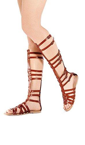 StyleUpGirl Marcelino Black Brown Knee High Buckle Gladiator Sandals Leather