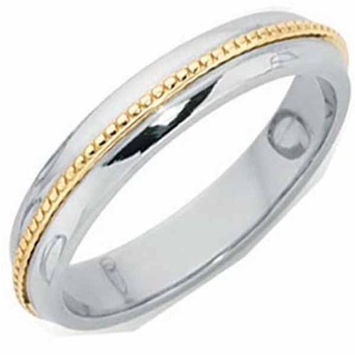 Platinum Court Wedding Ring Inlaid with Gold Width 4mm