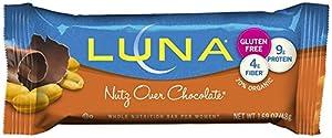 LUNA BAR - Gluten Free Bar - Nutz Over Chocolate - (1.69 oz, 15 Count)
