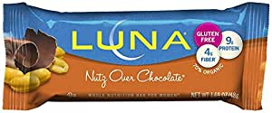 LUNA BAR - Gluten Free Bar - Nutz Over Chocolate - (1.69 oz, 15 Count)